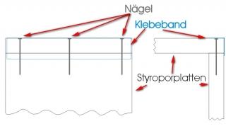 Styrocube Detailansicht der Verbindungen mit Nägeln