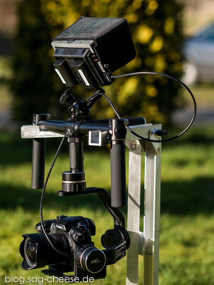 Panasonic Lumix DMC-GH5 mit Feiyu-Tech MG V2 Gimbal und Blackmagicdesign Video Assist Monitor