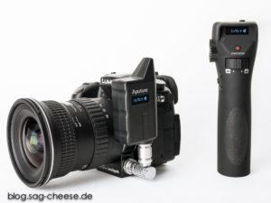 Aputure LensRegain : Beide Displays zeigen die aktuelle Brennweite sowie die korrigierte Arbeitsblende an